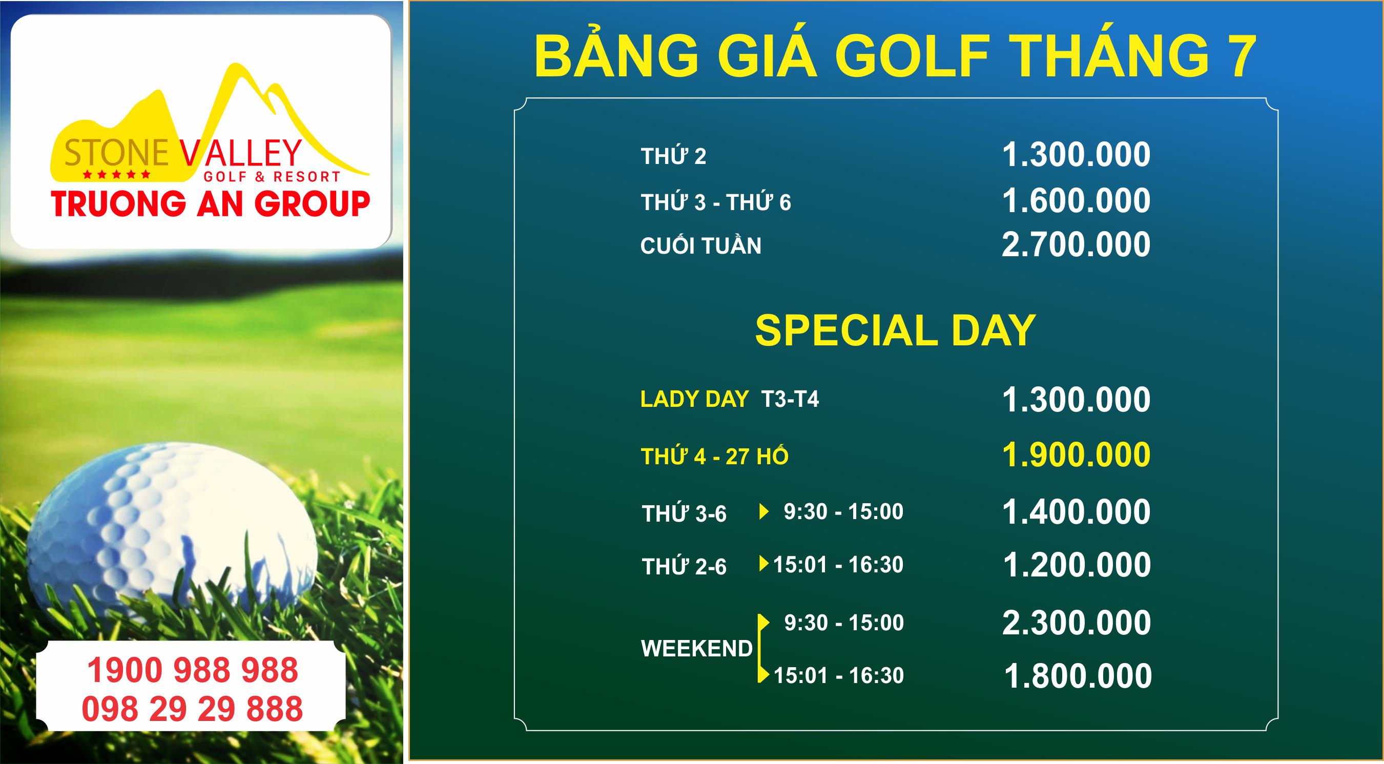 Bảng giá Golf tháng 07 năm 2021